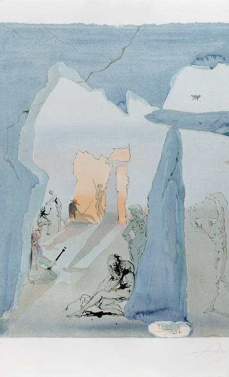 Salvador Dalí na exposição 'Estrangeiros na Coleção Roberto Marinho': 'Smugglers Meeting (Suíte Carmen)', de 1970 Foto: Divulgação/ / © Salvador Dalí, Fundación Gala-Salvador Dalí