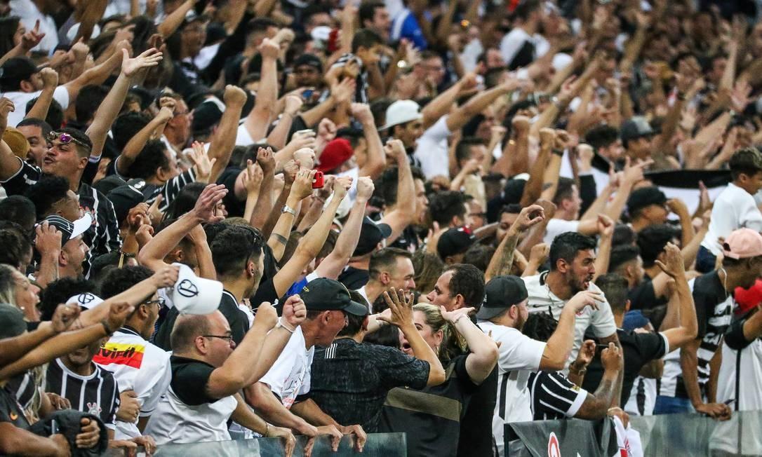 A torcida do Corinthians em partida recente na Arena Foto: Bruno Teixeira/Corinthians
