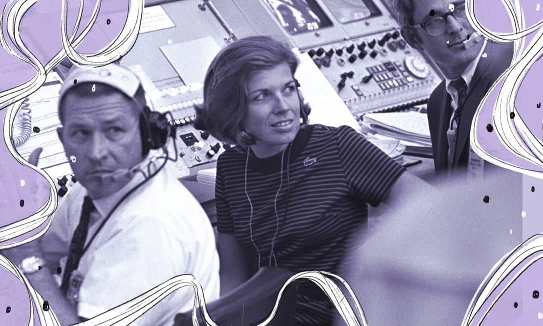 JoAnn Morgan na sala em que se controlou o lançamento da Apollo 11, que permitiu a chegada da Humanidade à Lua Foto: Arte sobre foto de Divulgação/Nasa