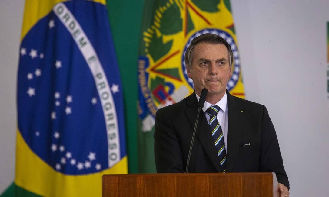 Jair Bolsonaro durante cerimônia alusiva aos 200 dias de governo, no Palácio do Planalto Foto: Daniel Marenco / Agência O Globo