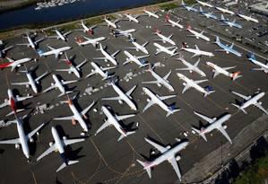 Aviões estacionados em Seattle, Washington (EUA) Foto: Reuters