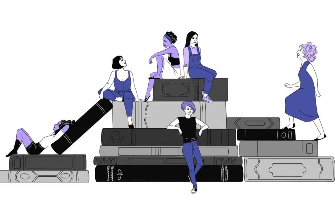 """Alguns livros como """"Sejamos todos feministas"""" e """"Os homens explicam tudo para mim"""" são boas opções para se iniciar no mundo do feminismo Foto: Arte de Nina Millen"""