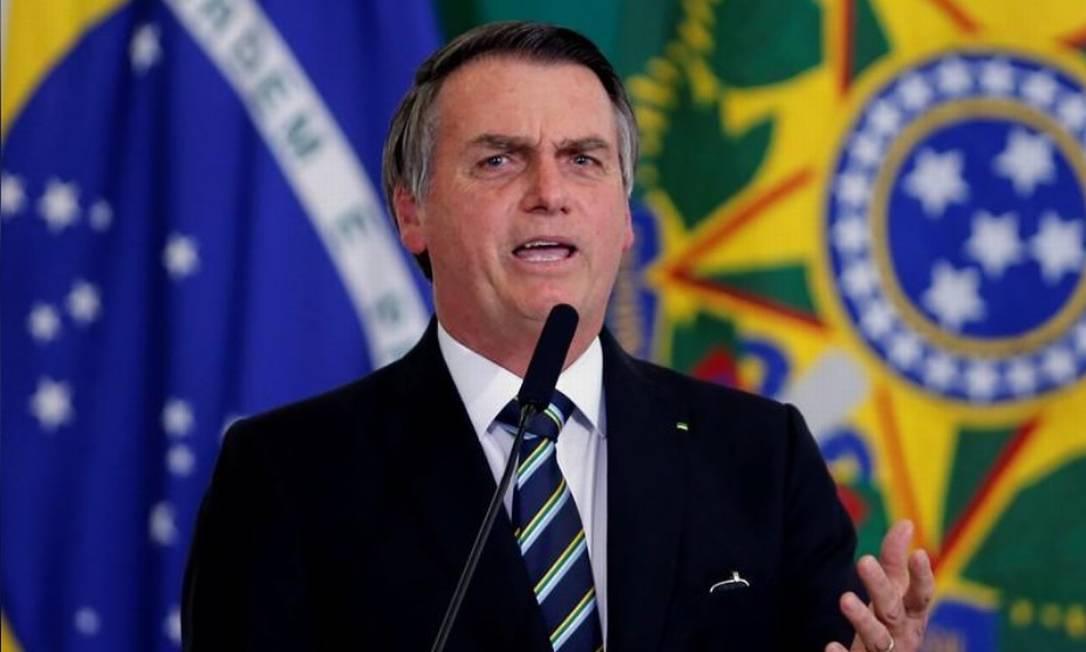 Presidente Jair Bolsonaro em cerimônia no Palácio do Planalto Foto: REUTERS