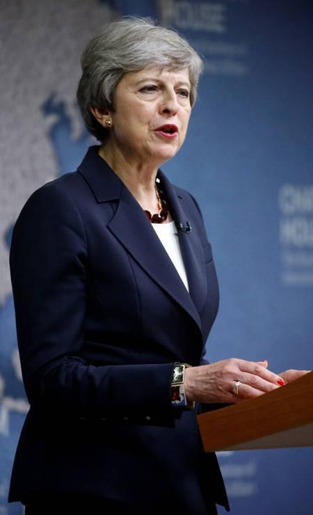 18ª posiação: Theresa May. Primeira-ministra do Reino Unido Foto: HENRY NICHOLLS / AFP
