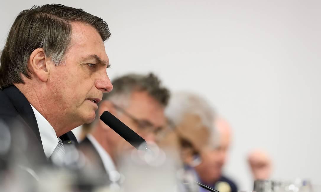 O presidente Jair Bolsonaro concede entrevista a correspondentes de veículos estrangeiros, em Brasília Foto: MARCOS CORREA 19-07-2019 / AFP