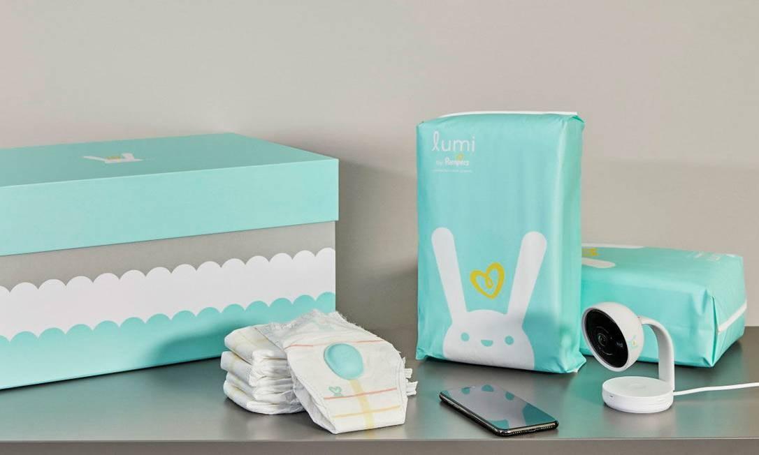 O kit com sensor, câmera e dois pacotes de fraldas começa a ser vendido ainda neste ano nos EUA Foto: Pampers
