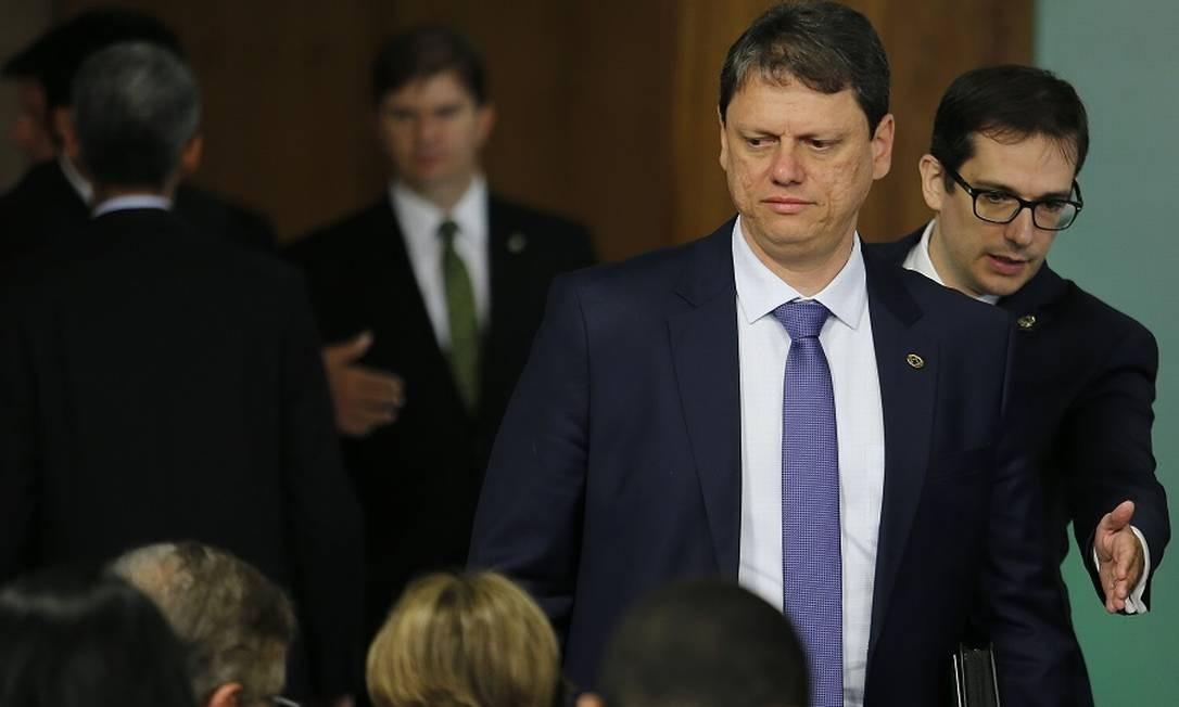 O ministro da Infraestrutura, Tarcísio Gomes de Freitas: reunião com caminhoneiros. Foto: Jorge William / Agência O Globo