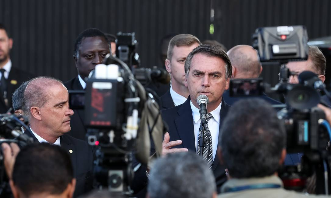 O presidente Jair Bolsonaro durante entrevista à imprensa Foto: Marcos Corrêa/PR
