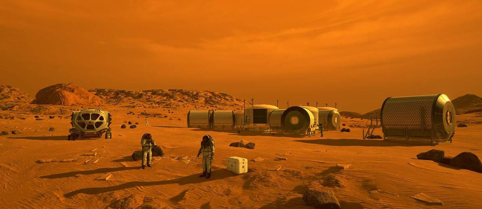 Ilustração de base para exploração de Marte: muitos avanços serão necessários para transformar ficção em realidade Foto: Nasa