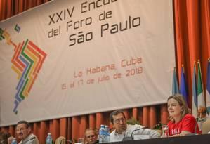 Divisão. A deputada e presidente do PT, Gleisi Hoffmann, discursa no 24º Encontro Anual do Foro de São Paulo, em Havana, no ano passado: evento foi marcado pelo debate sobre a crise na Nicarágua Foto: Ricardo Stuckert