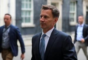 Chanceler britânico, Jeremy Hunt, em Londres Foto: SIMON DAWSON / REUTERS