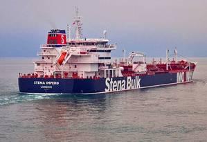Imagem do navio petroleiro Stena Impero, capturado pelo Irã no Estreito de Ormuz nesta sexta-feira. Um segundo navio, o Mesdar, também teria sido capturado na mesma área. Foto: HANDOUT / REUTERS