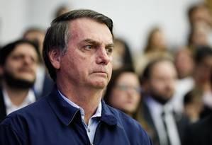 Presidente da República, Jair Bolsonaro, durante a Celebração Internacional 2019 Conquistando pelos Olhos da Fé Foto: Isac Nóbrega/Presidência da República