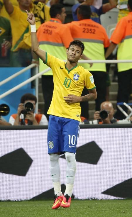 Neymar em sua primeira Copa do Mundo 2014. Jogo foi contra a Croácia no estádio Itaquera, São Paulo Foto: Ivo Gonzalez / Agência O Globo