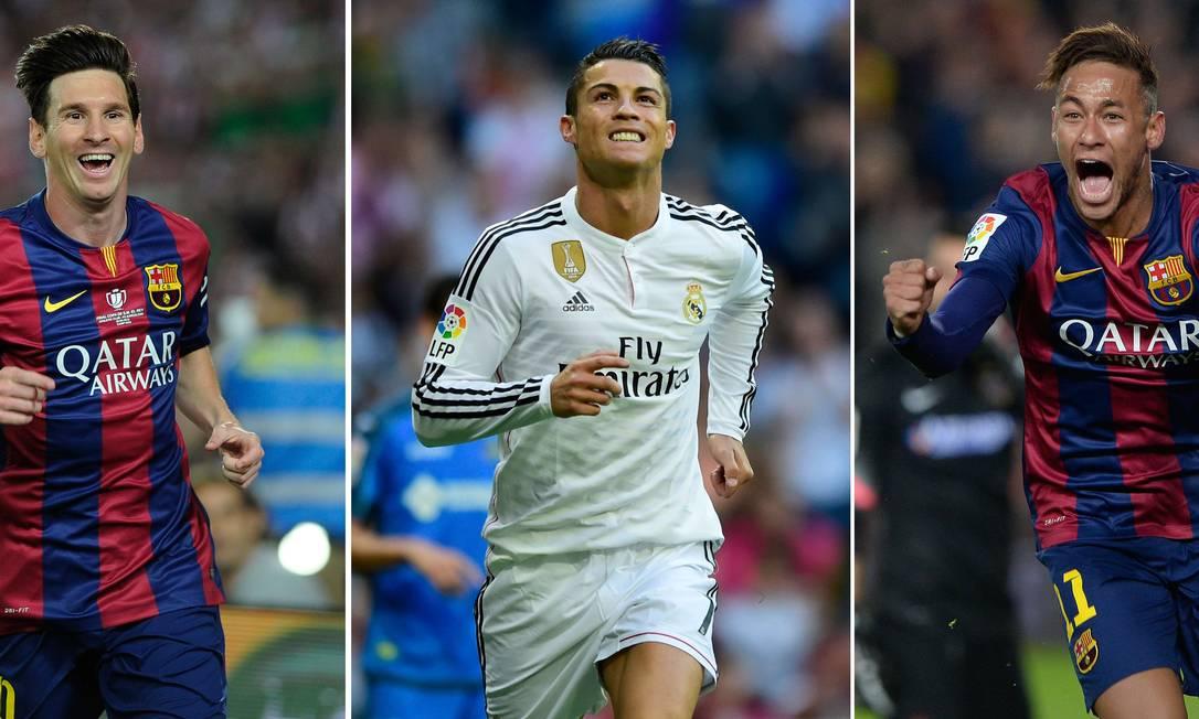 Em 2015, Neymar concorre ao Chuteira de Ouro, prêmio concedido ao maior artilheiro das competições nacionais da temporada europeia. Na época atuando pelo Barcelona, Neymar (direita) concorreu com Cristiano Ronaldo (centro) e Messi (esquerda), que venceu Foto: JOSEP LAGO / PIERRE-PHILIPPE MARCOU / ANDER GILLENEA / AFP