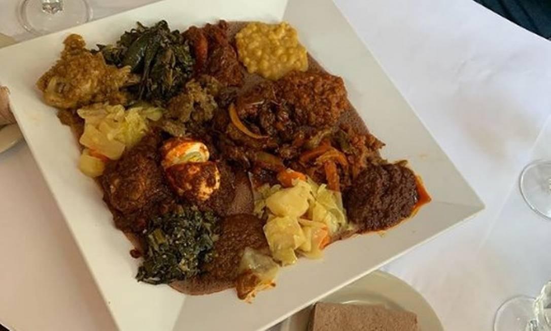 """Rosângela Moro publicou imagem de comida etíope em restaurante dos EUA. """"País mais cosmopolita do mundo"""", escreveu ela Foto: Reprodução/Instagram"""