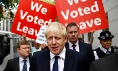 Confirmando favoritismo, Boris Johnson e é eleito novo líder do Partido Conservador e, consequentemente, novo primeiro-ministro britânico Foto: HENRY NICHOLLS / REUTERS