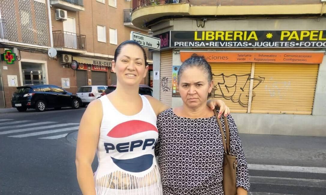 Priscila da Silva e Ana Lúcia da Silva Sepulchro no dia 27 de julho de 2018, primeiro dia em que chegou à Espanha Foto: Acervo pessoal