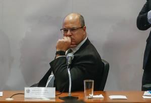 Governador Wilson Witzel voltou a relacionar o tráfico de drogas com o grupo terrorista Hezbolah Foto: Marcelo Regua / Agência O Globo