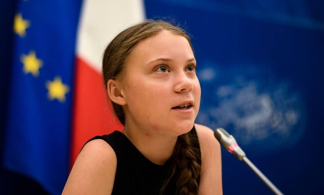 A ativista climática sueca Greta Thunberg participa de uma reunião na Assembléia Nacional francesa, em Paris Foto: LIONEL BONAVENTURE / AFP