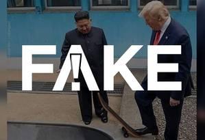 É #FAKE foto de Trump e Kim Jong-un em pista de skate Foto: Reprodução