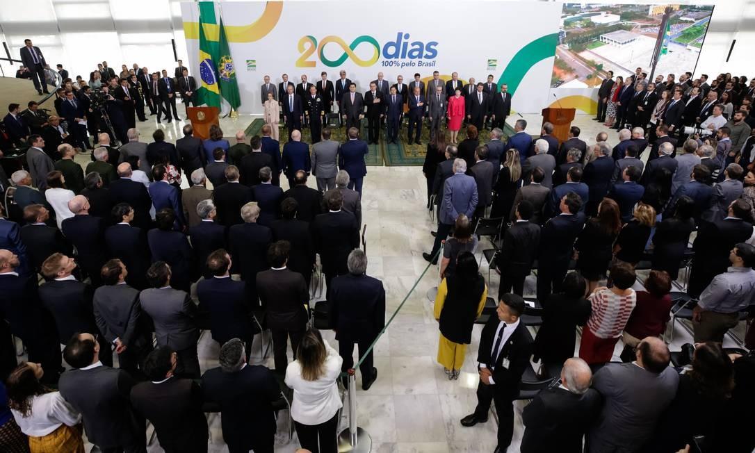 O presidente Jair Bolsonaro durante evento, em 18 de julho, para celebrar os primeiros 200 dias de gestão. Esta foi a primeira vez, desde a redemocratização do país, que um presidente convocou um evento para marcar este tipo de celebração Foto: Isac Nóbrega / PR