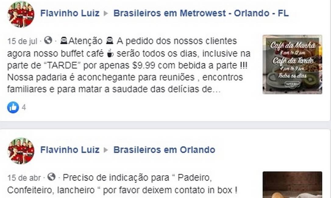 Flavio Caland postando em grupos de brasileiros em Orlando Foto: Reprodução