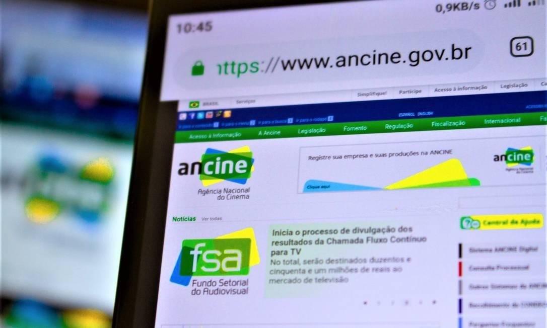 Detalhe do site da Agência Nacional do Cinema Foto: A7 Press / Agência O Globo
