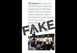 É #FAKE que o jornalista Glenn Greenwald foi preso enquanto embarcava em voo internacional Foto: Reprodução