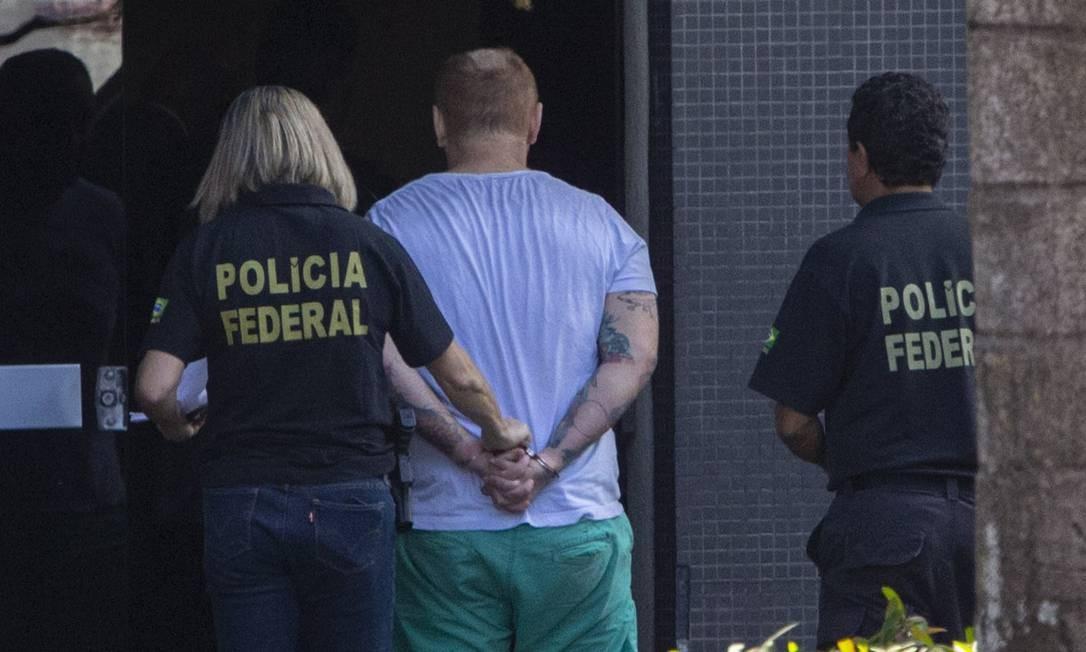 Presos acusados de envolvimento na invasão do Telegram do ministro da Justiça, Sergio Moro Foto: Daniel Marenco / Agência O Globo