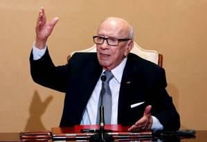 Morre o presidente da Tunísia, Beji Caid Essebsi, aos 92 anos. Na foto, Essebsi participa de uma entrevista coletiva. Foto: Zoubeir Souissi / REUTERS/25-10-2018