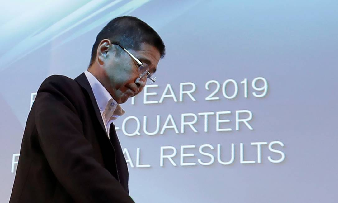 O CEO da Nissan, Hiroto Saikawa, no anúncio dos resultados da montadora japonesa. Foto: ISSEI KATO / REUTERS