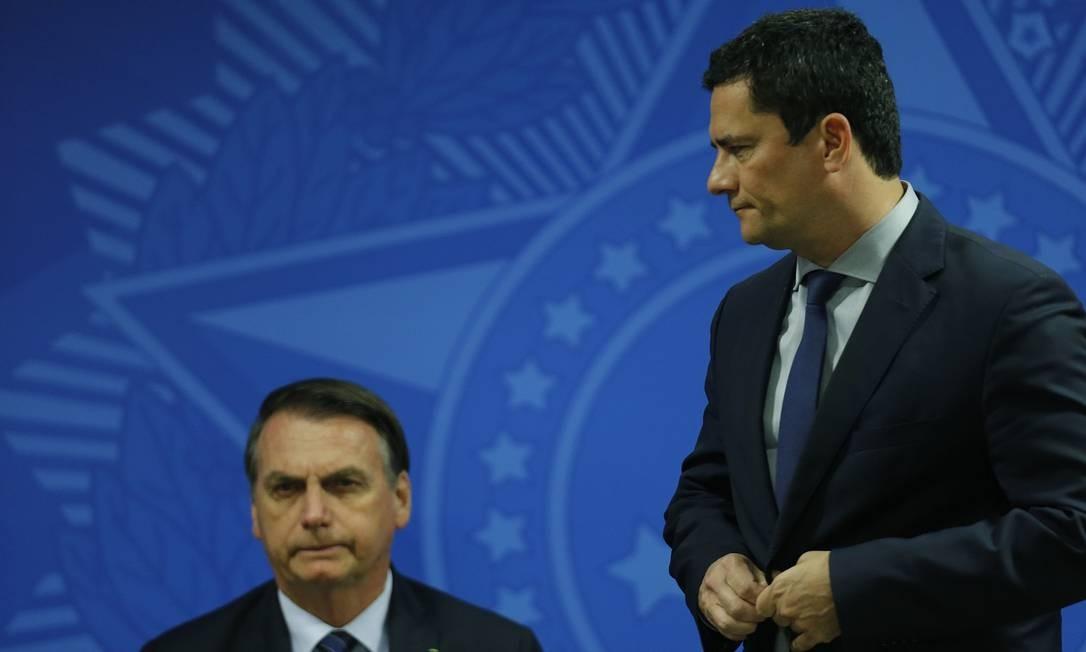 O presidente Jair Bolsonaro e o ministro Sergio Moro Foto: Jorge William / Agência O Globo