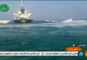 Foto do navio MT Riah, cuja tripulação foi libertada pelos iranianos Foto: STRINGER / AFP