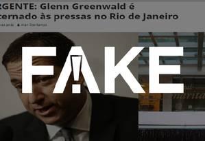 É #FAKE que Glenn Greenwald foi internado às pressas após infarto no Rio Foto: Reprodução