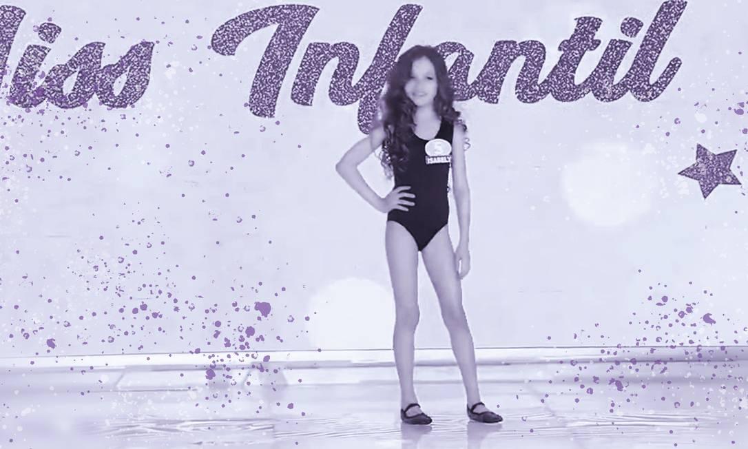 """Cena do desfile de uma das candidatas do concurso """"Miss Infantil"""", do SBT Foto: Arte sobre reprodução de vídeo"""