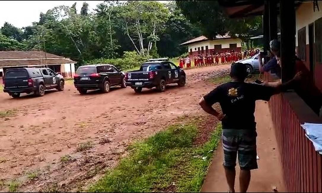 PF e Bope chegam à terra indígena Waiãpi, após invasão de garimpeiros Foto: Reprodução