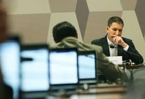 Jornalista Glenn Greenwald fala à CCJ do Senado Federal Foto: Jorge William 11/07/2019 / Jorge William/Agência O Globo