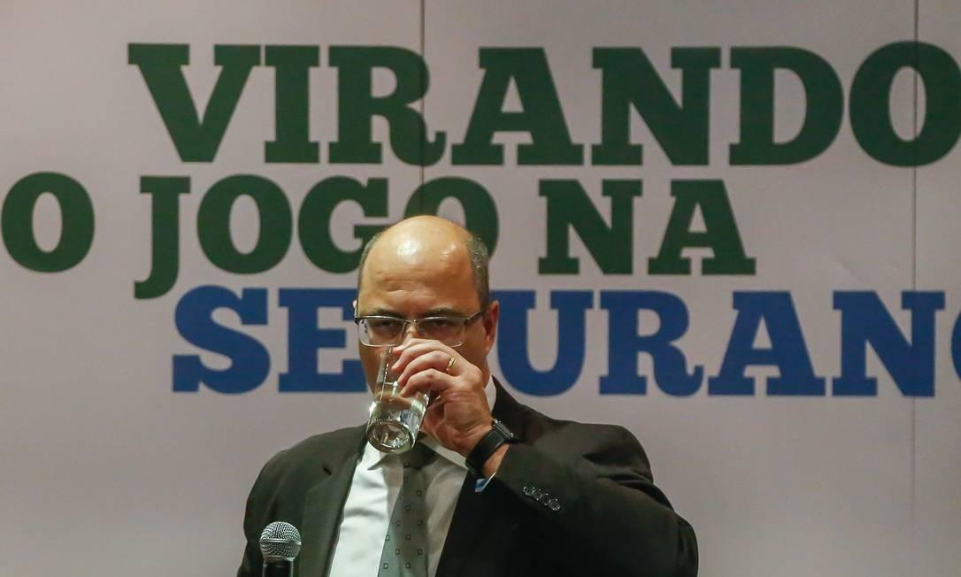 Witzel em coletiva no palácio Guanabara na semana passada (22) Foto: Marcelo Regua / Agência O Globo