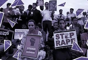 Indianas e indianos organizaram protesto contra cultura do estupro e clamando por apoio a mulheres vítimas Foto: Arte sobre foto da Reuters