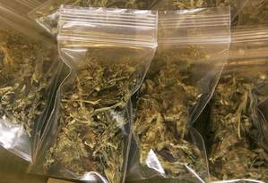 Embalagens de maconha medicinal, nos Estados Unidos Foto: Justin Sullivan / Getty Images