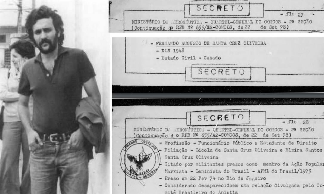Fernando Augusto de Santa Cruz Oliveira, desaparecido em 1974, durante a ditadura militar e documento que informa data de sua prisão Foto: Arquivo e Reprodução/Arquivo Nacional