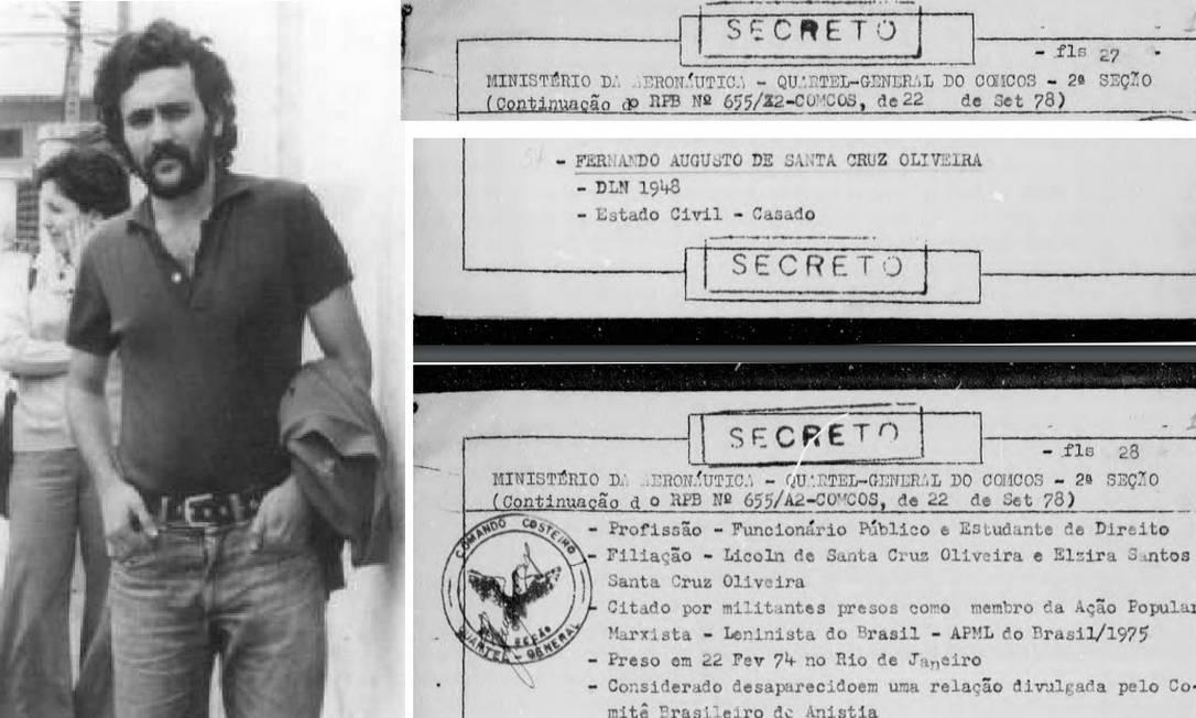 Fernando Augusto de Santa Cruz Oliveira, desaparecido em 1974, durante a ditadura militar e documento que informa data de sua prisão (Arquivo e Reprodução/Arquivo Nacional)