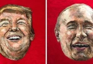 Donald Trump e Vladmir Putin são engolidos por traças na obra da artística plástica Sarah Vaci Foto: Divulgação