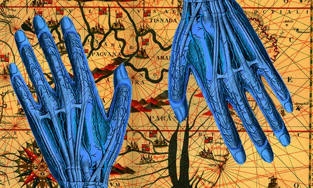Alteração feita em cima de mapa da Amazônia no século XVI de Joan Martinès e ilustração do Atlas da anatomia humana, de Johannes Sobotta Foto: Culture Club e VintageMedStock ambos via Getty
