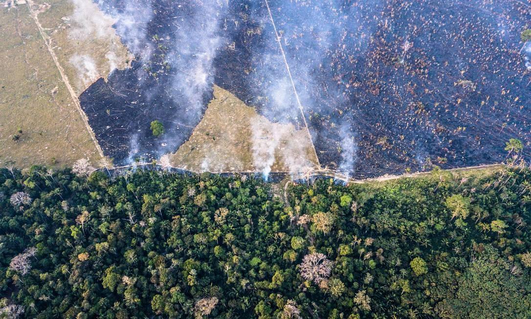 Desmatamento no limite da terra indígena Karipuna, em Rondônia, em 3 de setembro de 2018. Números do Inpe levam em conta desmatamentos com solo exposto, vegetação remanescente e derrubadas resultantes de atividades ligadas à mineração Foto: Fábio Nascimento /