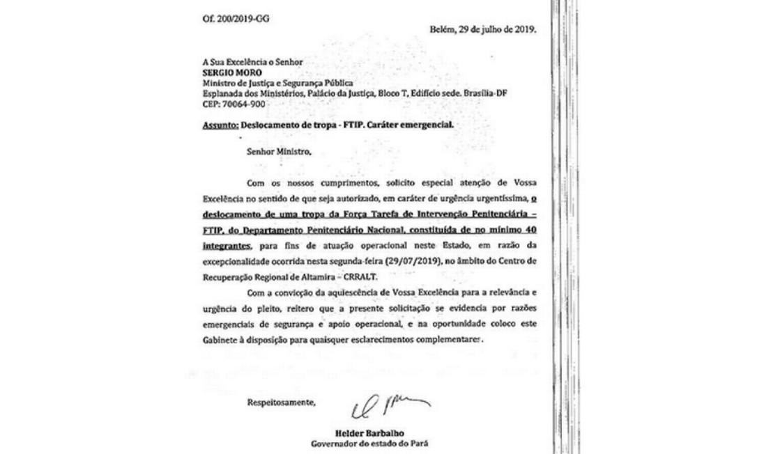 Pedido do governador Helder Barbalho para o envio de tropas federais para o Pará Foto: Reprodução