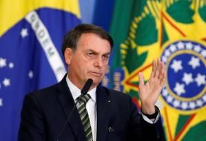 Bolsonaro faz discurso durante cerimônia oficial no Palácio do Planalto Foto: ADRIANO MACHADO / REUTERS