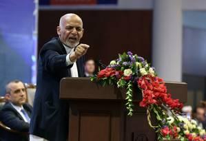 Presidente do Afeganistão, Ashraf Ghani, faz pronunciamento Foto: OMAR SOBHANI / REUTERS / 28-07-2019