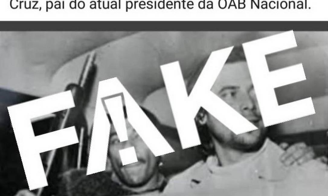 É #FAKE que homem armado ao lado de José Dirceu em foto seja o pai do presidente da OAB Foto: Reprodução